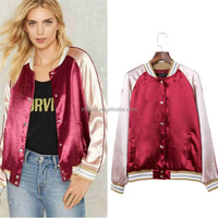 High quality autumn women baseball coat satin bomber jacket wholesale