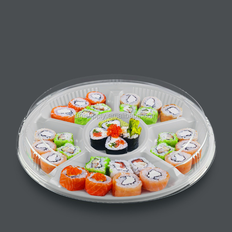 Plastic Large Size 6 Compartment Round Sushi Salad Fruit Platter Tray Box for Gift with Clear Lid