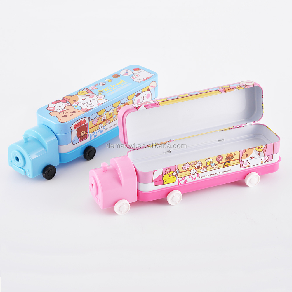 Eco friendly customized two layers metal tin train shape pencil case with sharpener