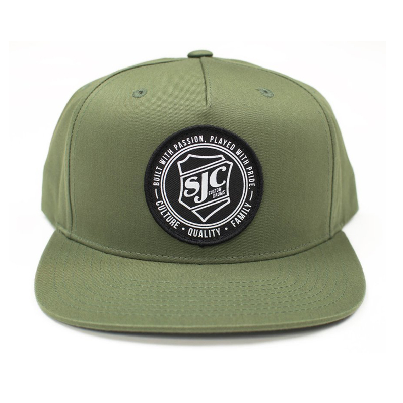 Round embroidery patch six panel flat brimmed olive cotton snapback hip hop cap