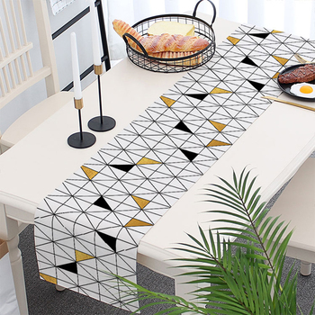 new design geometry triangle digital printing linen cotton table runner  wholesale, View table runner wholesale, BW Product Details from Yiwu Behind
