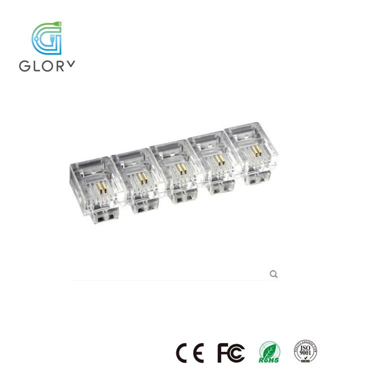 professional crystal connector manufacturer 6p4c cat3 fu rj11 plug