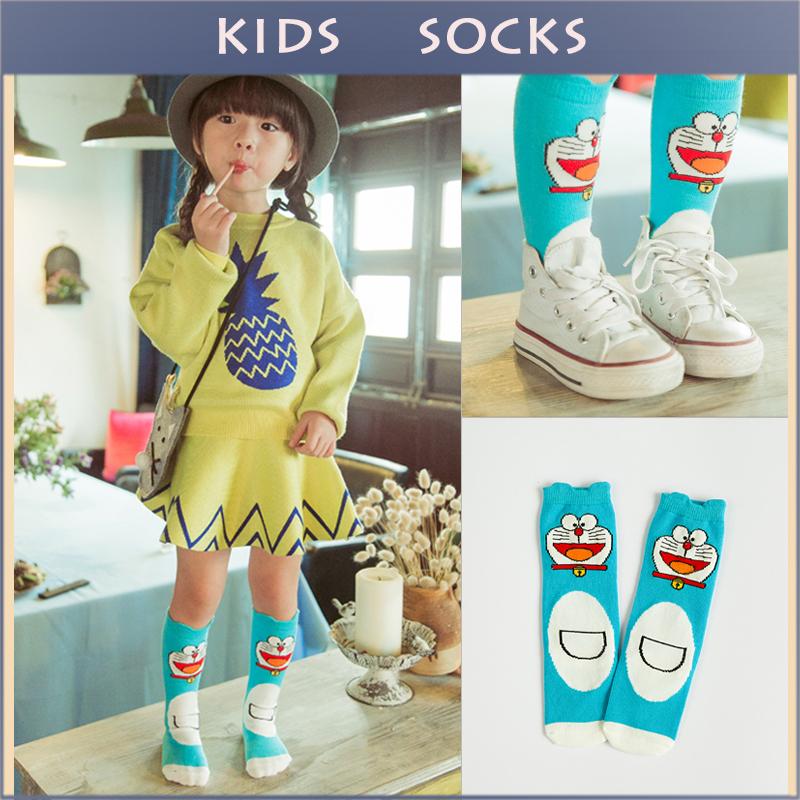 Baby 2015 Soft Cotton Kawaii Boy Girls Socks Cute Dora Pattern Kids Knee Long Socks Baby