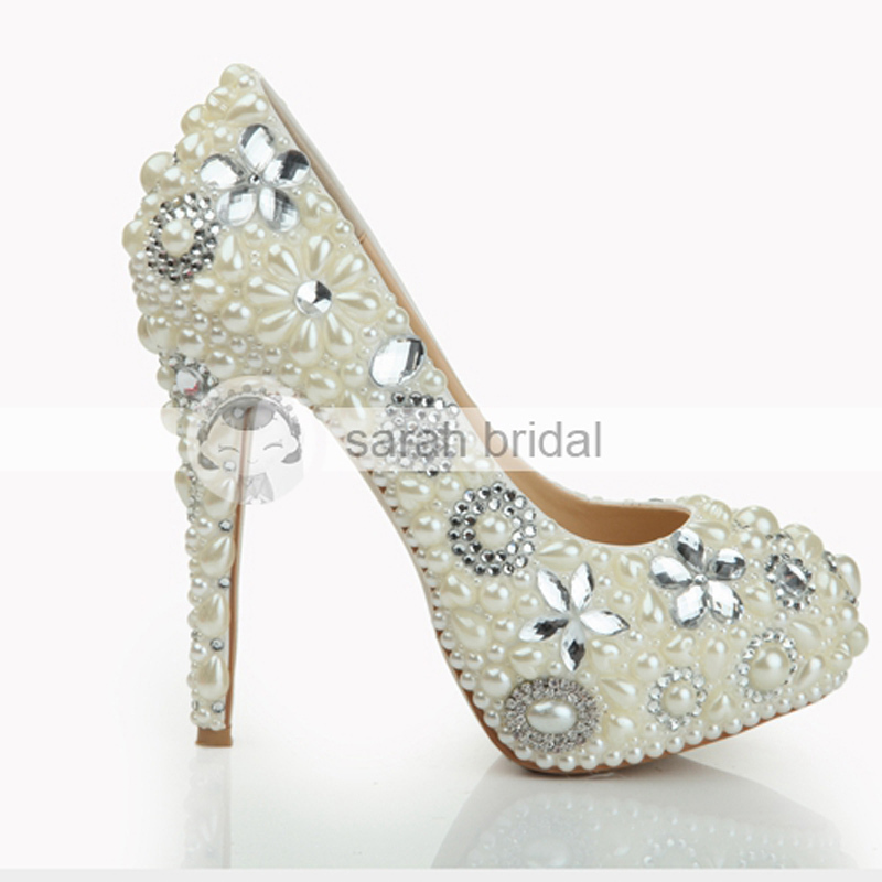 2015 Hot New Arrival 2015 Fashion Thin Heel Ivory Wedding Shoes For Women Crystal Platform Shoes Rhinstone Pumps Heels LSDN-1079