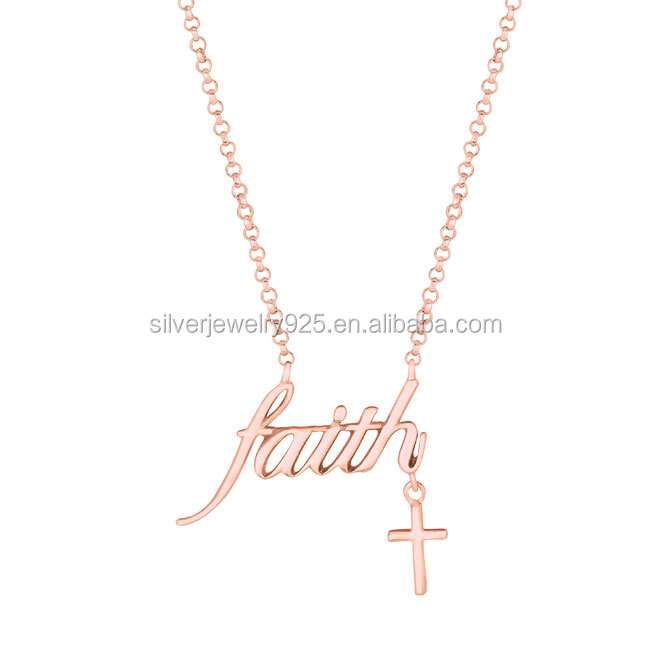 925 Sterling Silver Rose Gold Faith Religious NEW Sideways Cross Necklace