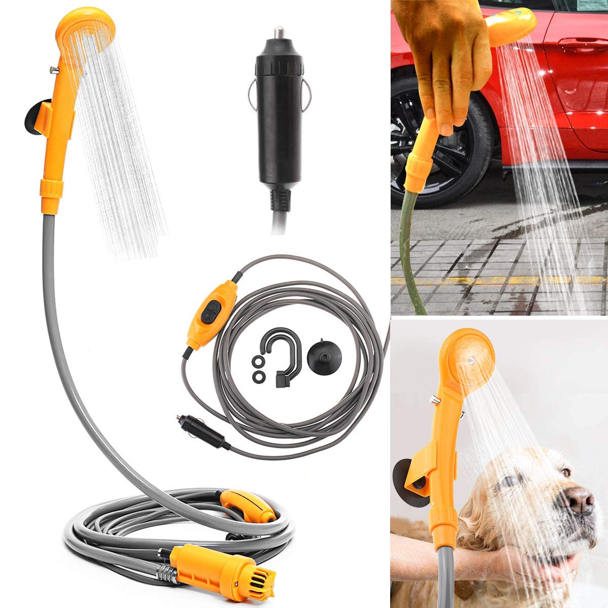 Outdoor Shower Kit, MASO 12V Portable Camping Shower with Water Pump, 5 Meter Cable With Cigarette Lighter Plug, Max 7L Water Per Minute for Champing Pet Bath Car Washing Personal Shower