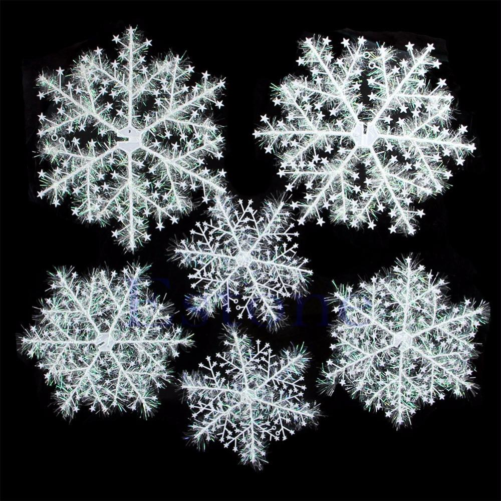 A96 6Pcs Classic White Snowflake Ornaments Christmas Holiday Party Home Decor New