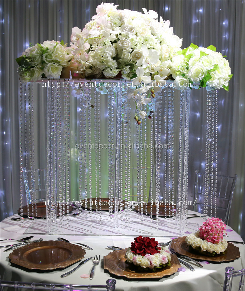 Fancy Rectangle Wedding Table Centerpieces Crystal