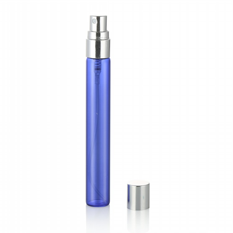 cosmetic tubes packaging  5ml 8ml 10ml matte blue empty perfume bottle with aluminum sprayer