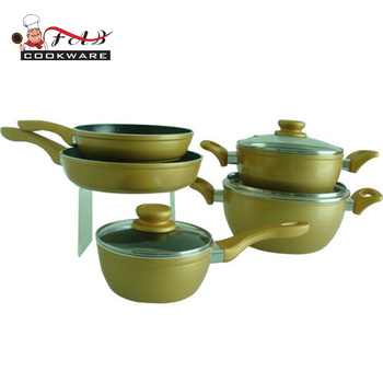 New design aluminium non stick cookware with soft touch handle