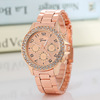 Super Seller Wholesale Price Geneva Watch Quartz Crystal Watch Rose Gold Color Casual Alloy Watch