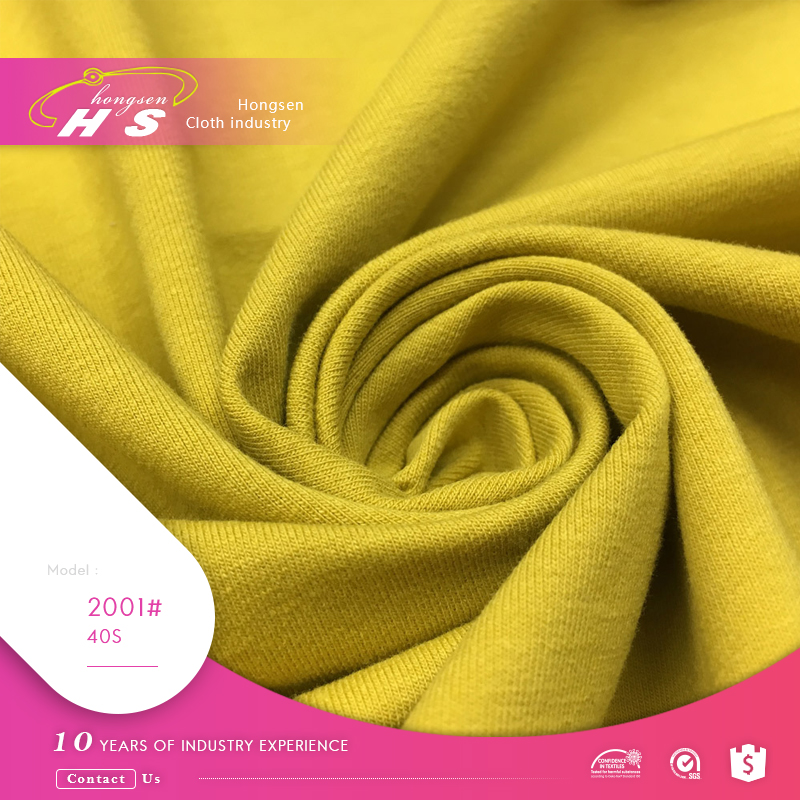 Cambodia low price garment 100% cotton knitted hosiery fabric
