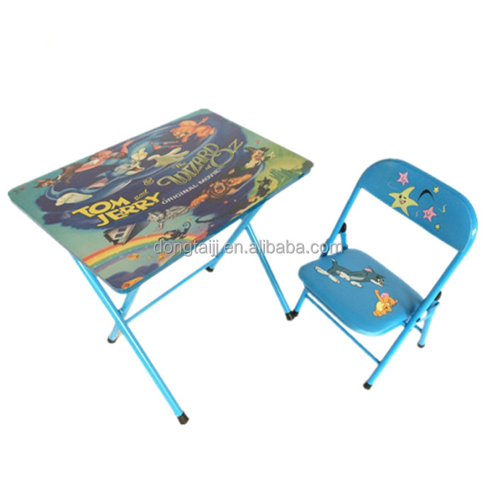 Metal Frame Foldable Kids Studying Table And Chair Dt 18 Folding Set Writing Study