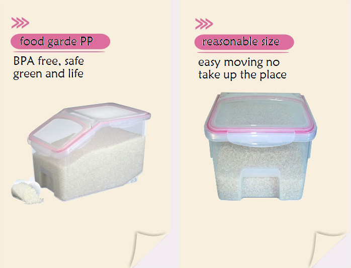 10kg Plastic Rice Bin, Food Storage Container With Flip Lock Lid