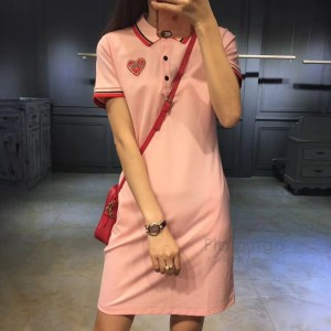Wholesale Casual Plain Dyed Office Summer Women Polo Shirt Dress