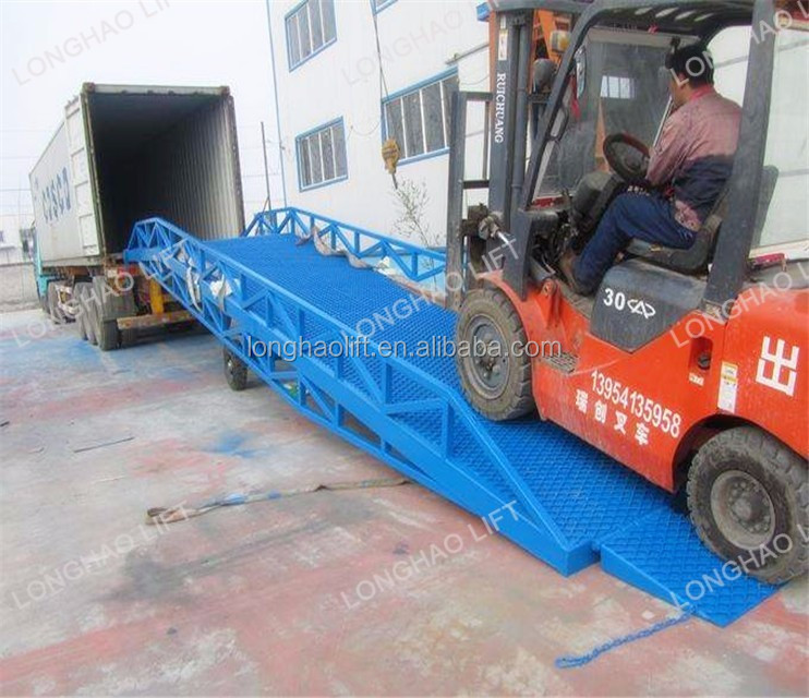 Loading and unloading used mobile hydraulic ramp for truck