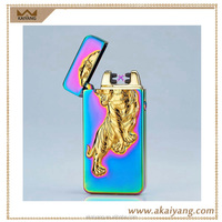 Windproof electronic style arc pulse tiger double arc lighters usb charged cigarette lighters