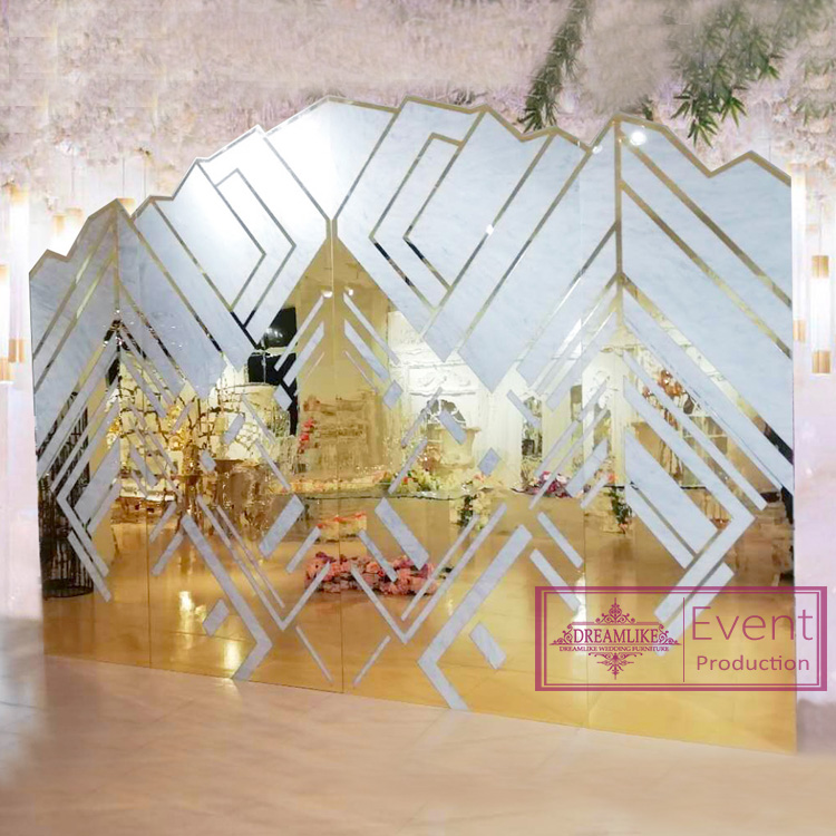 Luxury geometrical element backdrop stand set for wedding party