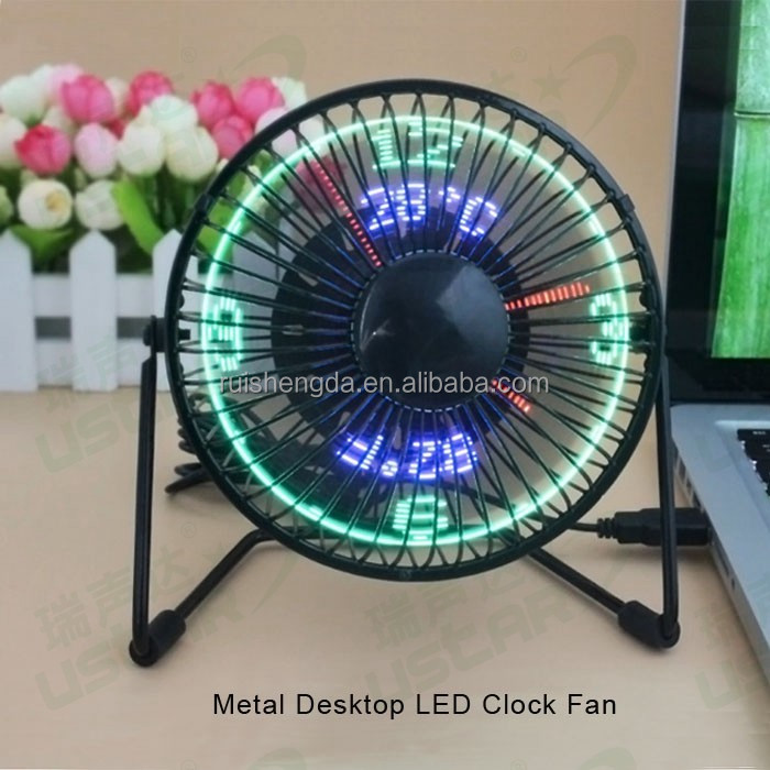2017 new Patented electronic gadget Metal Mini USB LED Clock table Fan winding machine for desktop computer, powerbank