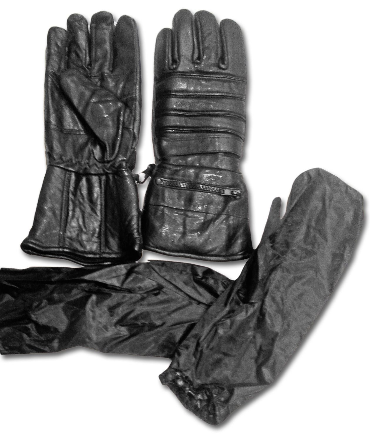"Warmest 12"" Motorcycle Black Leather Riding Gauntlets by The Nekid Cow UNISEX Men & Women Gloves - Gauranteed - Includes Rain & Ice Cover Sleeve Accessory - Extra Long Glove with Extra protection for Cold Weather & All Year Round - Perfect for Winter & Snowmobiling (Snowmobiles) - Warm, Waterproof,"
