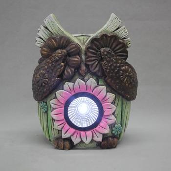 Solar Powered Owl Outdoor LED Garden Light, Sunflower Shape