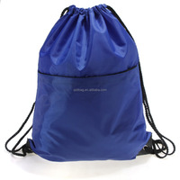 Personalized Waterproof 190t 210d 420d Polyester Heavy Duty Drawstring Bag, Wholesale Cinch Drawstring Backpack With Pocket