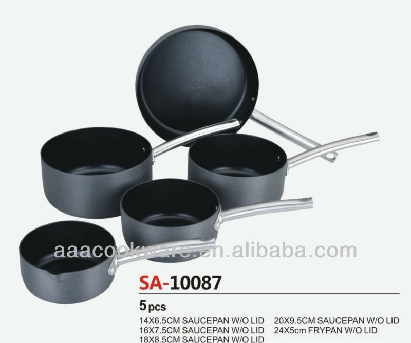 High Quality Pressed Hard Anodized Aluminium Saucepan and Frypan cookware sets/kitchenware sets with non stick inside