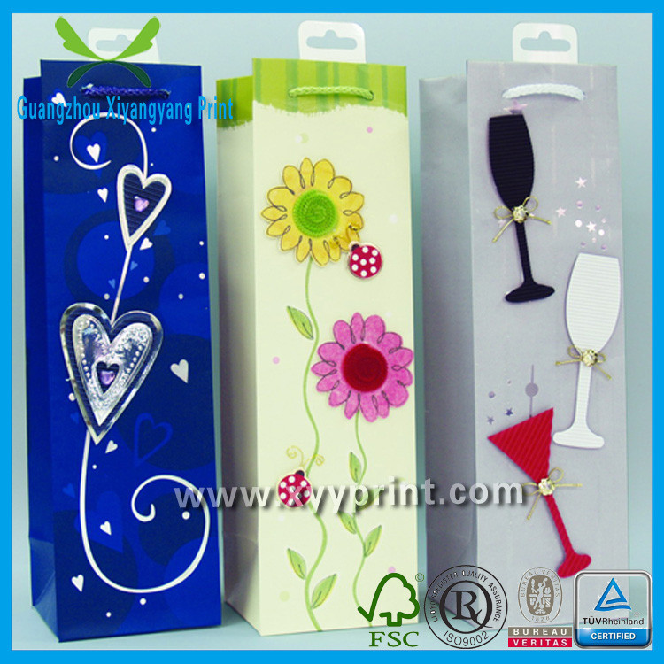 Top Sale Customed Paper Bag For Wine Bottle With High Quality