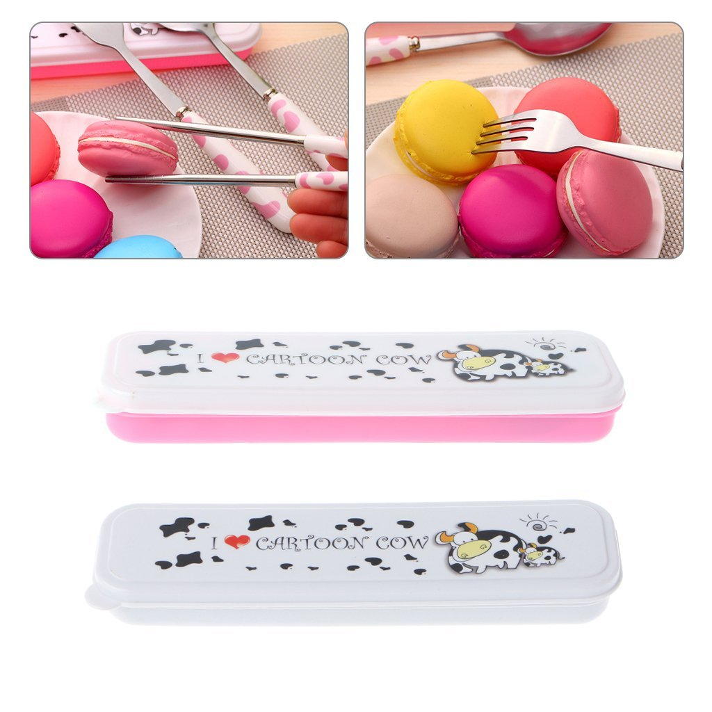 Cicitop Portable Cute Cow Cartoon Tableware Cutlery Set, 4 Peices, Spoon, Fork, Chopsticks and Box, Perfect for Office People, Picnic, Travel, Students ect. (Pink)