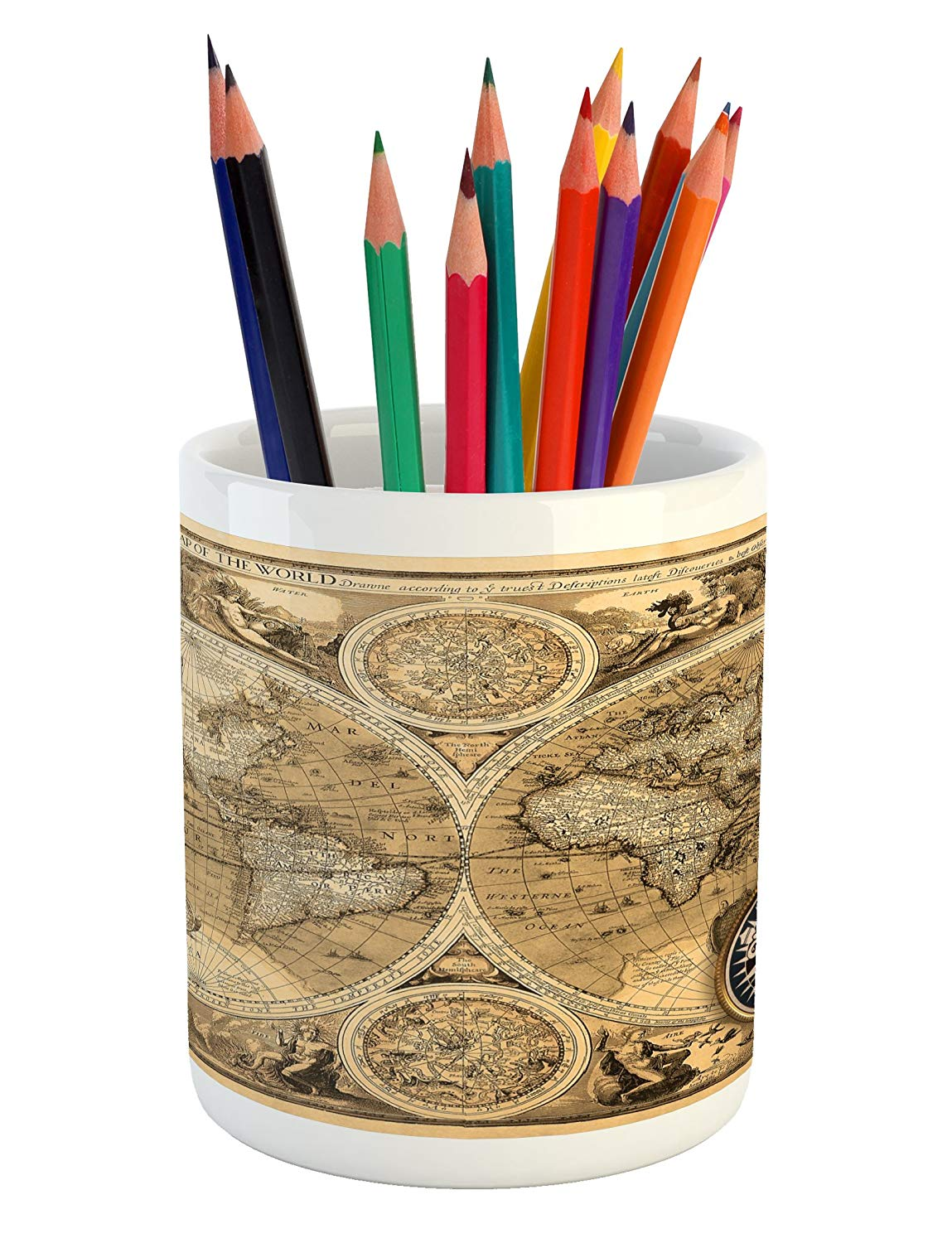 Lunarable World Map Pencil Pen Holder, Old Chart with Countries Oceans Continents Atlas Nostalgic Antique Image, Printed Ceramic Pencil Pen Holder for Desk Office Accessory, Sand Brown Umber