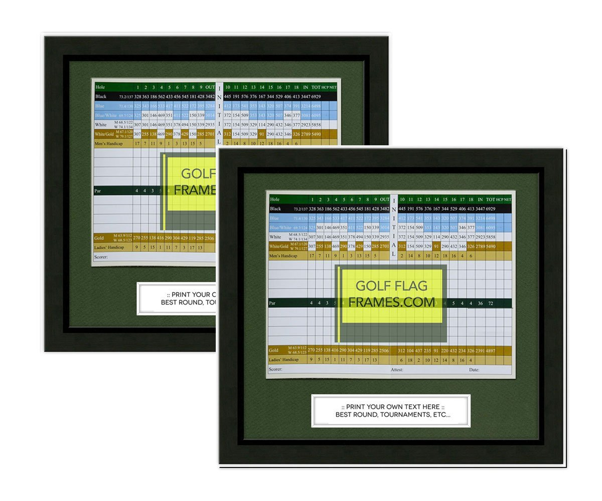 """11""""x10"""" Golf Scorecard Frame 2 PACK; Black Wood Frame 416, Green Mat (holds approx. 6""""x8"""" card; card not included"""