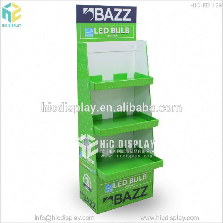 Paper material pop led bulb cardboard display stand