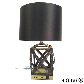 Antique Bedside Lamp With Usb Port And Outlet Custom Made Wrought Iron Hotel