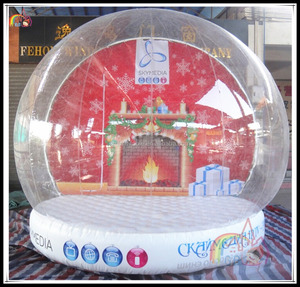 High Quality Giant Inflatable Snow Globe For Christmas Promotion