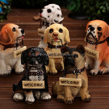polyresin dog welcome decorations animal figurines resin