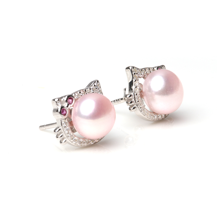 Whole Freshwater 7 8mm Pearl Stud Earrings Cat Face Silver Earring Product On Alibaba