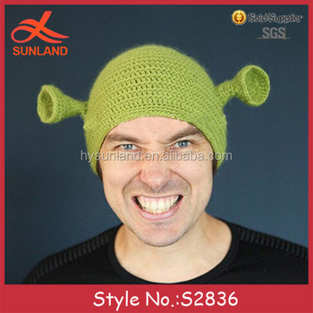 S2836 hot sale funny knit adults kids cool Shrek patterns winter hats women fa4b4318717