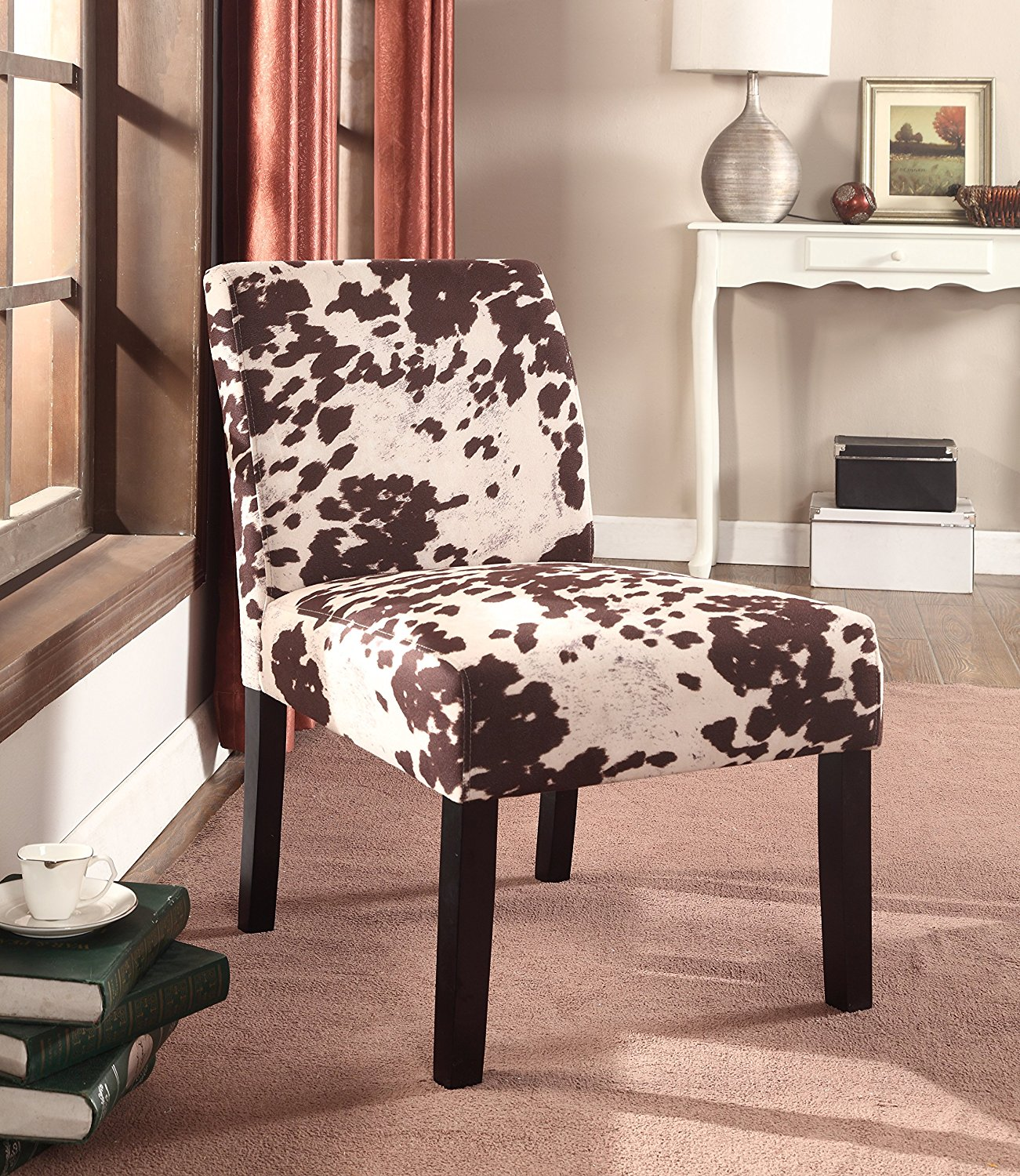 Container Furniture Direct Grace Collection Contemporary Armless Upholstered Cowhide Fabric Accent Chair, Set of 2, Brown/Beige