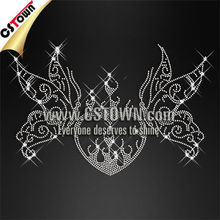 Clear crystal rhinestone design butterfly with heart hotfix patterns