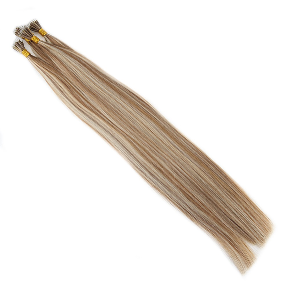 Straight Micro Nano Real Human Hair Extensions Medium Brown #6 Mixed with Platinum Blonde #60 Extension For Black Women 1g/pc