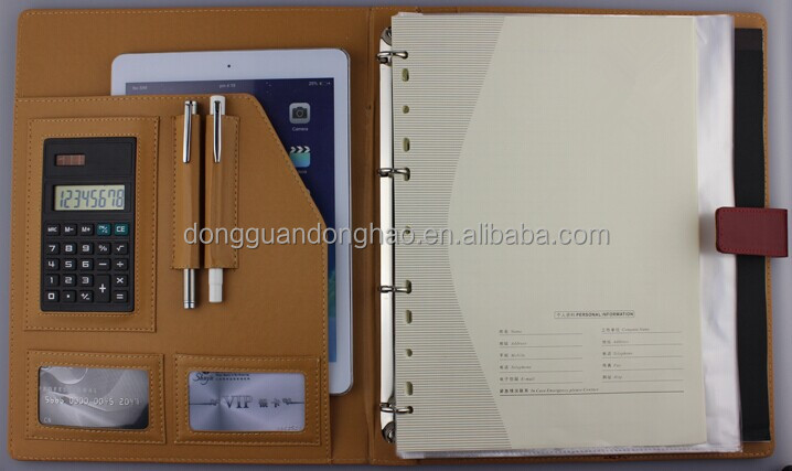 A4 PU/PVC/leather manager portfolio/file folder/ring binder/Ipad holder with magnetic closure red color