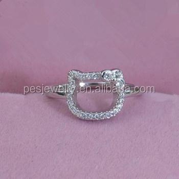 bcfdfbf5e PES Fashion Jewelry! New Charm Pave CZ Cute Hello Kitty Ring (PES6-1967