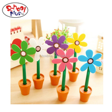 Colorful plastic flower ball pen for promotion