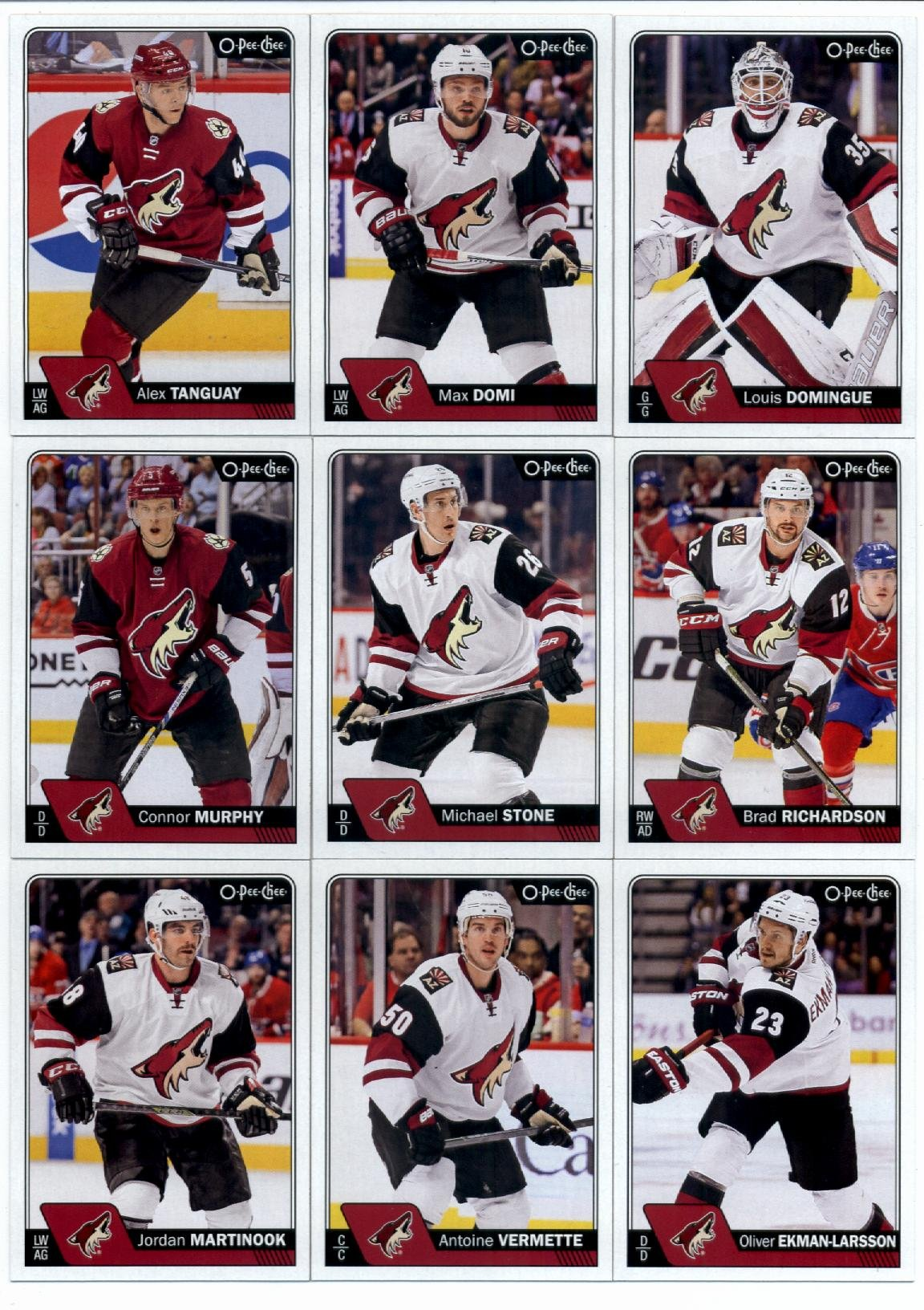2016-17 O-Pee-Chee Hockey Arizona Coyotes Team Set of 16 Cards in Protective Snap Case: Louis Domingue(#24), Max Domi(#31), Alex Tanguay(#81), Brad Richardson(#104), Michael Stone(#131), Connor Murphy(#162), Oliver Ekman-Larsson(#190), Antoine Vermette(#215), Jordan Martinook(#241), Martin