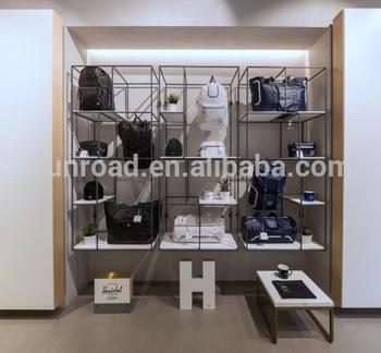 Branded Handbag Metal Shelf Backpack Display Rack And Wallet Glass Showcase