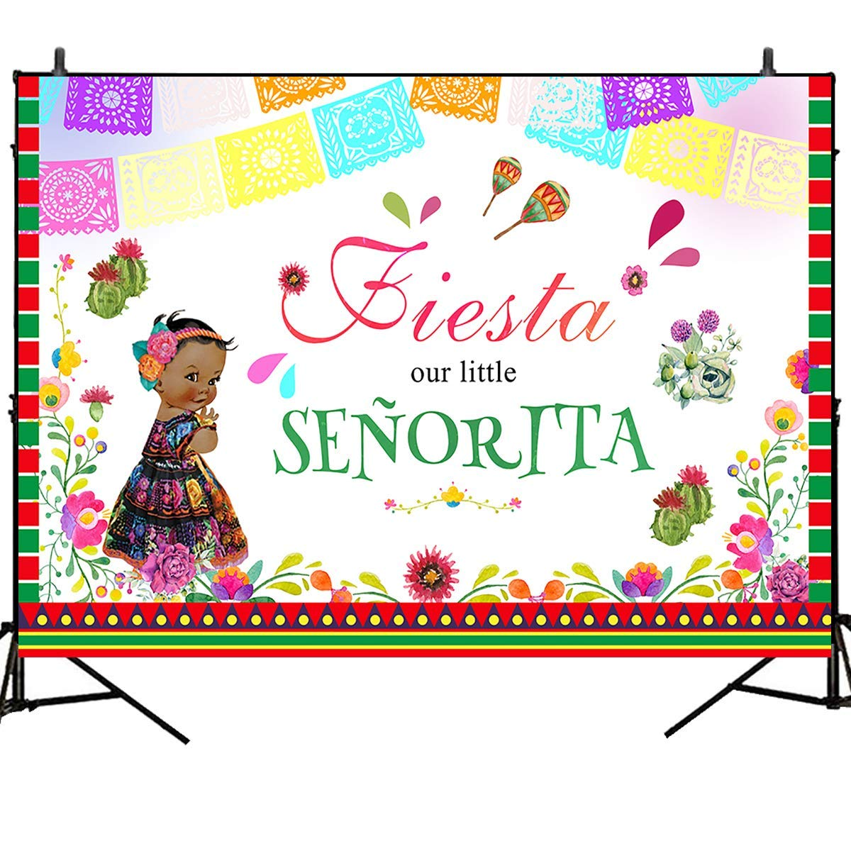 Mehofoto Fiesta Baby Shower Backdrops Tribe Little Princess Photography Background 7x5ft Watercolor Flower Flags Mexico Style Vinyl Photoshoot Party Banner Decor