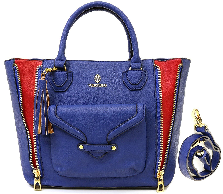 Get quotations · vertigo paris dylan satchel tote bag blue red