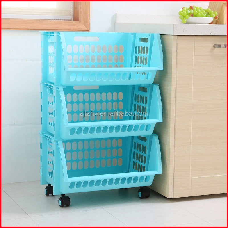 Plastic Stacking Stackers Storage Baskets Veg Rack 3 Tier Vegetable