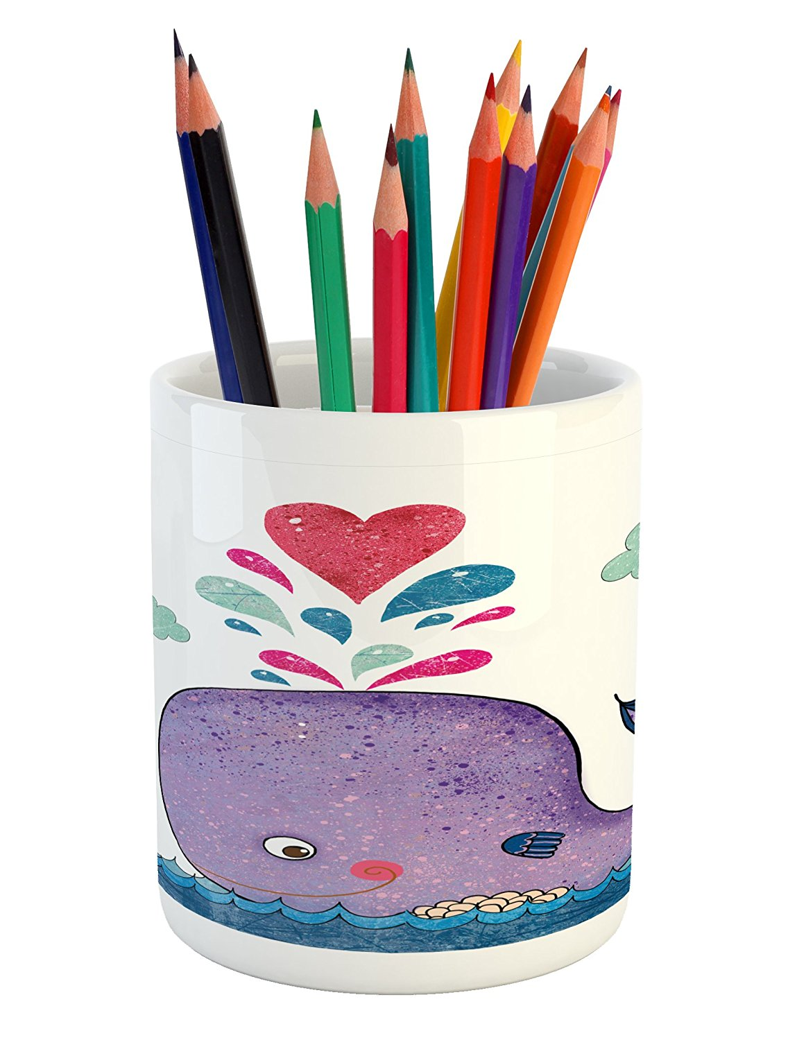 Whale Pencil Pen Holder by Ambesonne, Cute Smiley Whale with Love Valentine's Hearts and Clouds on Sea Kids Print, Printed Ceramic Pencil Pen Holder for Desk Office Accessory, Blue Purple and Red,