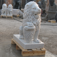 Garden decoration antique chinese marble lion statues for sale
